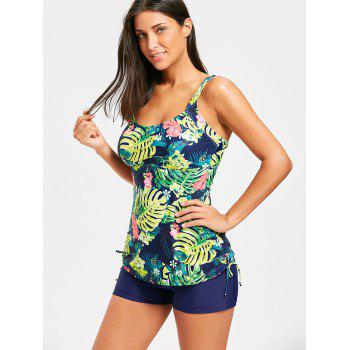 Tropical Print Padded Tankini Set - XL XL