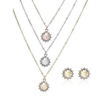 Rhinestone Butterfly Layered Necklace and Earrings - COLORMIX COLORMIX