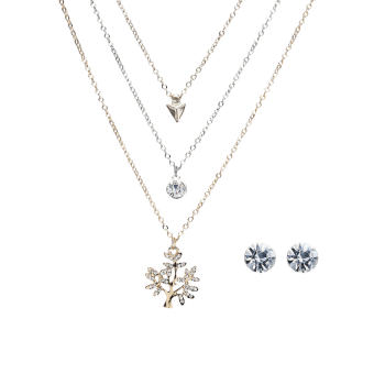 Rhinestone Tree of Life Layered Necklace and Earrings -  COLORMIX
