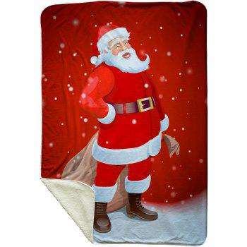 Santa Claus Print Fleece Christmas Thermal Blanket - RED W39.4INCH*L59.1INCH
