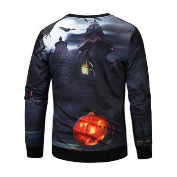 Halloween 3D House Pumpkin Lamp Sweatshirt - COLORMIX XL