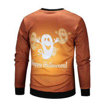 Halloween Cartoon Ghost Print Sweatshirt - COLORMIX L