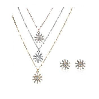 Rhinestone Sun Layered Necklace and Earrings - COLORMIX COLORMIX