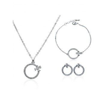 Rhinestone Circle Necklace Earrings and Bracelet - SILVER SILVER