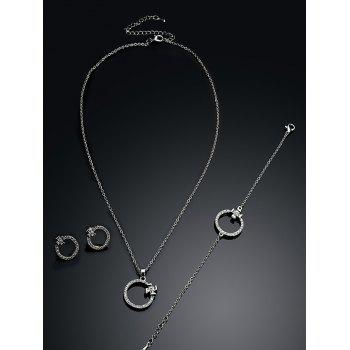 Rhinestone Circle Necklace Earrings and Bracelet - SILVER