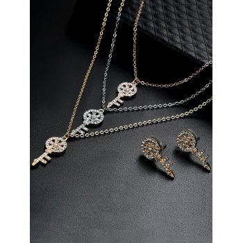 Rhinestone Key Layered Necklace and Earrings -  COLORMIX