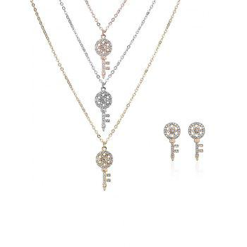 Rhinestone Key Layered Necklace and Earrings - COLORMIX COLORMIX