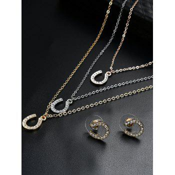 Rhinestone Horseshoe Layered Necklace and Earrings -  COLORMIX