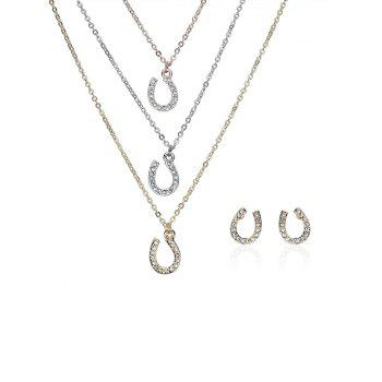 Rhinestone Horseshoe Layered Necklace and Earrings - COLORMIX COLORMIX