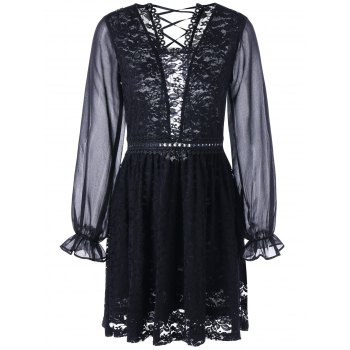 Back Tie Up Long Sleeve Sheer Lace Dress - BLACK M