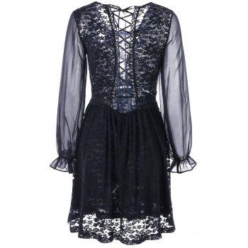 Back Tie Up Long Sleeve Sheer Lace Dress - M M
