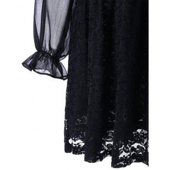 Back Tie Up Long Sleeve Sheer Lace Dress - BLACK BLACK