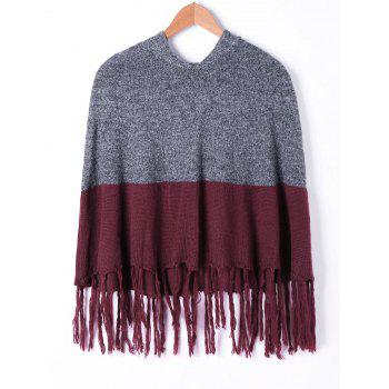 Hooded Tassel Two Tone Knit Cape