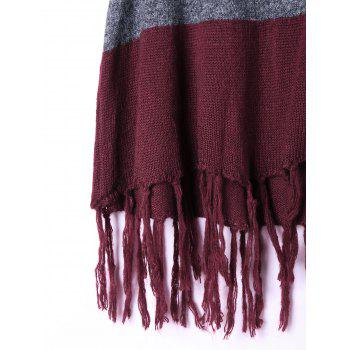Hooded Tassel Two Tone Knit Cape - L L