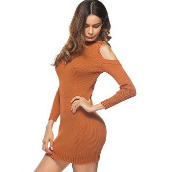 Cold Shoulder Mini Bodycon Knit Dress - GINGER ONE SIZE
