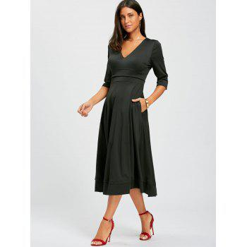 V Neck Fit and Flare Midi Dress - M M