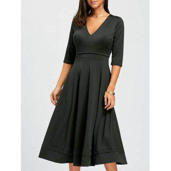 V Neck Fit and Flare Midi Dress - BLACK M