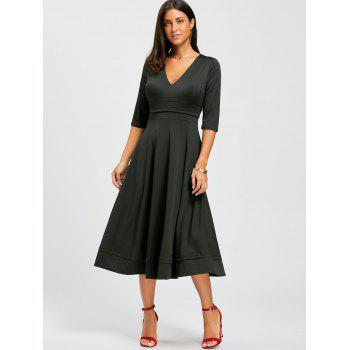 V Neck Fit and Flare Midi Dress - BLACK XL