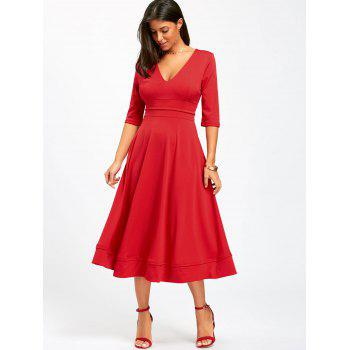 V Neck Fit and Flare Midi Dress - L L