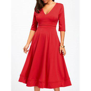 V Neck Fit and Flare Midi Dress - RED L