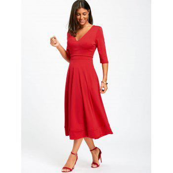 V Neck Fit and Flare Midi Dress - S S