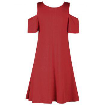 Christmas Horse Cold Shoulder Mini Dress - RED ONE SIZE