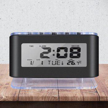 Backlit Temperature Snooze Alarm Clock - BLACK