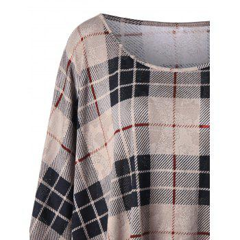 Plus Size Plaid Crescent Hem Top - KHAKI 5XL