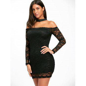 Off The Shoulder Lace Choker Bodycon Dress - BLACK XL