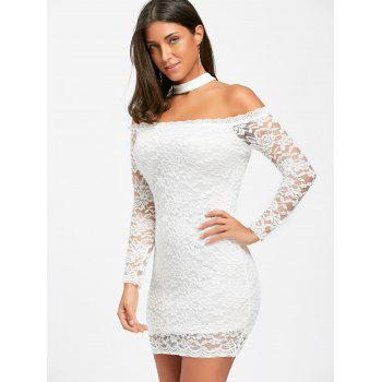 Off The Shoulder Lace Choker Bodycon Dress - WHITE S