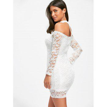 Off The Shoulder Lace Choker Bodycon Dress - WHITE L