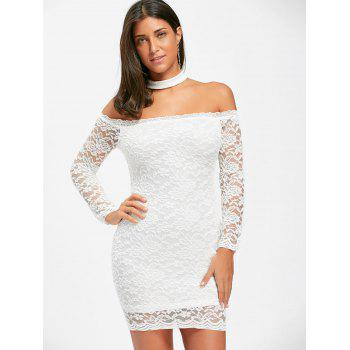 Off The Shoulder Lace Choker Bodycon Dress - WHITE WHITE