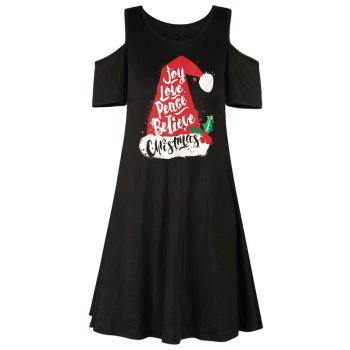 Christmas Hat Letter Print Cold Shoulder Dress