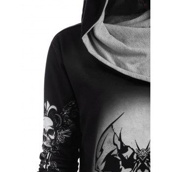 Skull and Wings Print Halloween Hoodie - GRAY GRAY