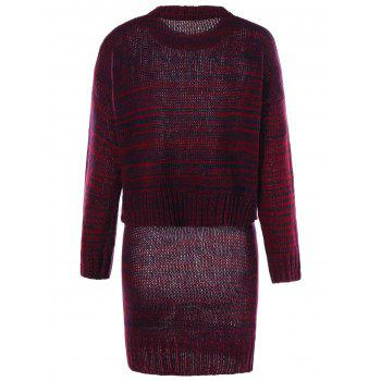 High Neck Sweater with Knitted Skirt - RED M