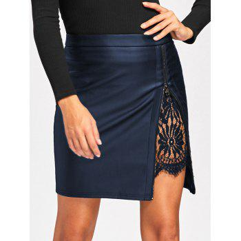 Lace Insert Fitted Faux Leather Skirt - CADETBLUE 2XL