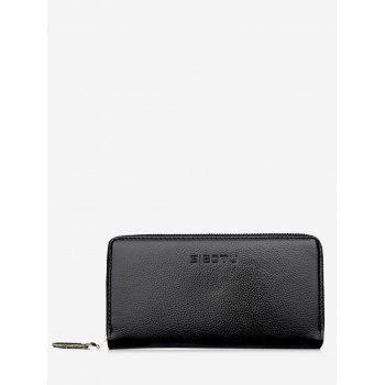 Zip Clutch Faux Leather Wallet - BLACK BLACK