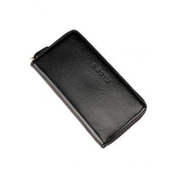 Zip Clutch Faux Leather Wallet -  BLACK