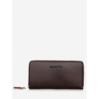 Zip Clutch Faux Leather Wallet - BROWN BROWN