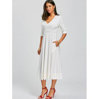 V Neck Fit and Flare Midi Dress - XL XL