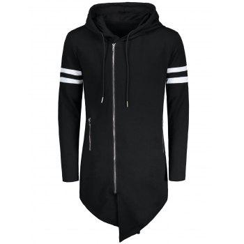 "<P>Zip Up Varsity Stripe Asymmetrical Long Hoodie</P><I Class=""Icon Down Js Tap Up Down""></I> by Dress Lily"