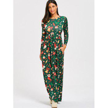 Christmas Socks Bell Print Maxi Dress - GREEN GREEN