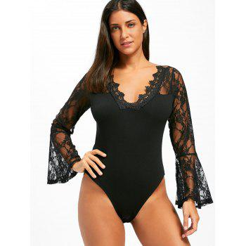 Flare Sleeve Lace Bodysuit - BLACK BLACK