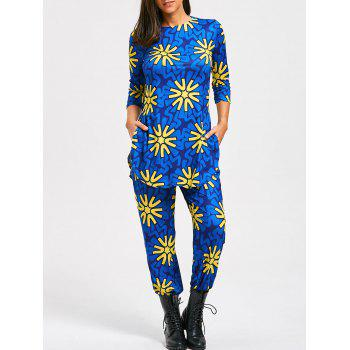 Floral Print Slit T-shirt and High Waist Pants - BLUE BLUE
