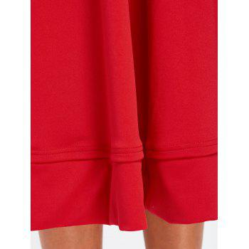 V Neck Fit and Flare Midi Dress - RED RED