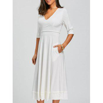 V Neck Fit and Flare Midi Dress - WHITE WHITE