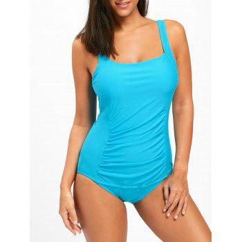 One Piece Ruched Square Neck Swimsuit - BLUE BLUE