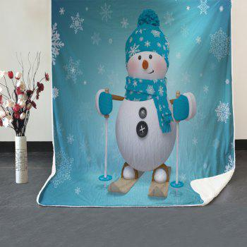 Christmas Snowman Printed Soft Fleece Thermal Blanket - TURQUOISE W39.4INCH*L59.1INCH