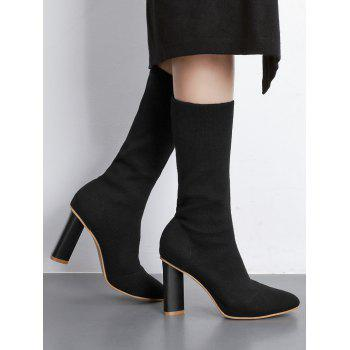 Chunky Heel Ankle Short Boots - BLACK 37