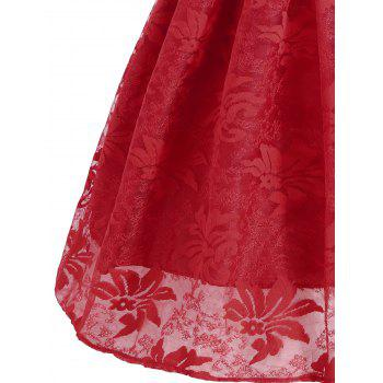 Lace Insert Sleeveless A Line Dress - RED M